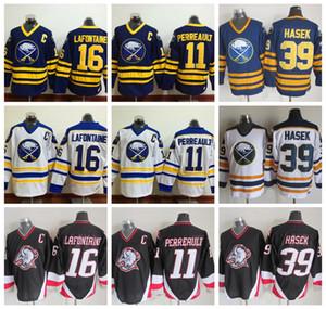 رجل 1992 CCM Buffalo Sabers Hockey Jersey 16 Pat LaFontaine 11 Gilbert Perreault C Patch Jersey39 Dominic Hasek Vintage Jersey مخيط