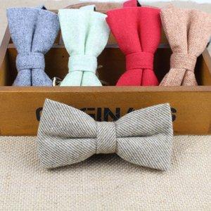Superior Classical Lã Formal Cotton Bow Tie Gravata várias cores Houndstooth Pattern gravata Mens Luxury Tie Tweed Bowtie