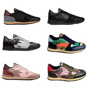 Moda Stud Camouflage Sneakers Chaussures Calçados Homens Mulheres Flats Rockrunner treinadores esportivos casuais tênis de corrida