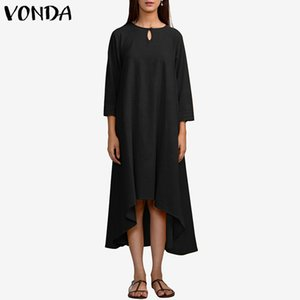 VONDA Donna Vintage Party Dress 2019 Autunno Casual Abiti lunghi allentati LadiesOrrogramma Hem Solid Vestidos Plus Size S-5XL