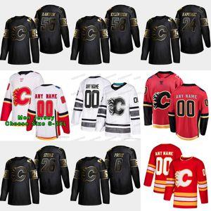 2019 Golden Edition Calgary Flames 58 Oliver Kylington 55 Noah Hanifin 26 Michael Stone 24 Travis Hamonic 6 Dalton Prout Hockeytrikots