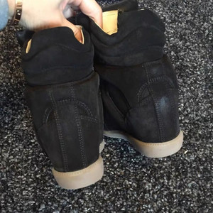 21luxury Designer echtes Leder Isabel Bekett Leder-getrimmten Wildleder mit Keil Turnschuhe Frauen Marant Modenschau Paris Schuhe