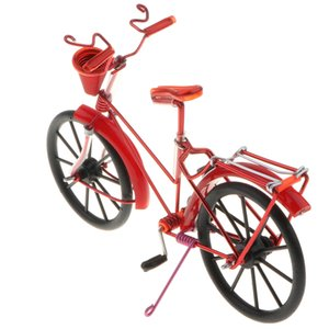 1:10 Aluminum Bike Model Bicycle With Basket Handicraft Toy Red