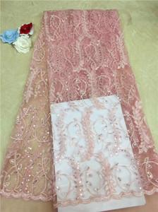 Tissu africain en dentelle Saree de haute qualité Tissu français en dentelle à sequins Nouvelle arrivée en Inde 2019 Tissu en dentelle ultra-mince blanc (3