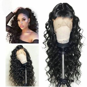 Natural color 100% Human hair lace front wigs loose curly 150 180 Density wig for wormen