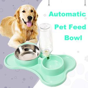 Pet chargeur automatique Abreuvoir alimentation eau potable Cat alimentation pour animaux de chien de grande capacité Distributeur bols pour chiens chats Double Bowl BH1537 TQQ
