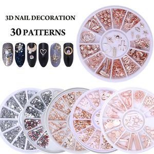 Pierres Nail Art Boîtier rond en strass Perles irrégulières manucure pour les ongles Art Décorations cristaux Nails Accessoires Art