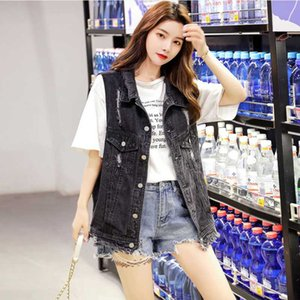 Джинсовый жилет женщин весна лето новый 2020 Корейский свободный студент лета рукавов жилет куртка BF