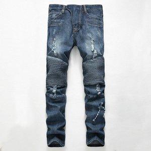 dos homens jeans rasgados novo designer calças compridas regulares vincadas meados de subir calças retas com furos afligido jeans luz frete grátis