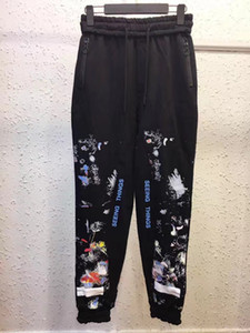 high quality fashion off mens designer pants hip hop white black Graffiti casual pants