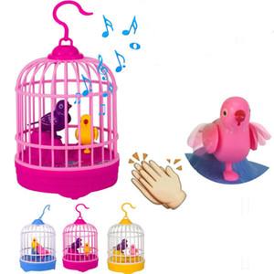 Activités Temple Juste Cadeaux Sound Control Mini cage à oiseaux Jouets Affichage Sound Control Simulation Bird Cage
