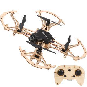 الأطفال كيد خشبي DIY الطائرة بدون طيار ميني جيب سباق RC خشبي تجميعها كوادكوبتر مع كاميرا HD 2.4GHZ لألعاب التحكم عن بعد