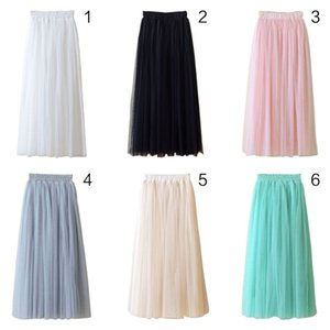 80CM Women High Waist Three Layer Sheer Mesh Pleated Tulle Midi Long Skirt Sweet Solid Candy Color Drape Swing Loose Skirt New