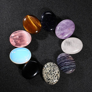 9 adet Doğal Kuvars Endişe Taşlar Gül Kuvars Ametist Opal Oval Eskitme Kristaller Cilalı Mineraller Şifa Palm Taş