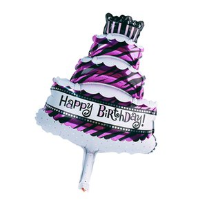 Pack of 10 Novelty Mini Happy Birthday Cake Foil Balloon Kids Adult Birthday Party Decoration