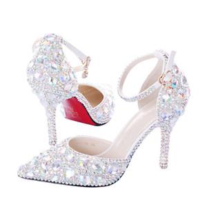 Spedizione gratuita Handmade Spose Scarpe da sposa Cristalli Decorato cinturini alla caviglia bridesmaid tacchi Prom Pompa del partito tacco 9 cm 7 cm 5.5 cm taglia 34-40