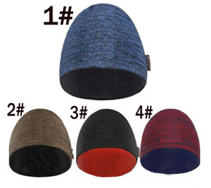 Зимние осенние шапки для женщин Мужчины Марка стиль Мода Шапочки Skullies Chapeu Caps 4Color холодной шерсти шляпы Двухсторонняя протектор уха вязать