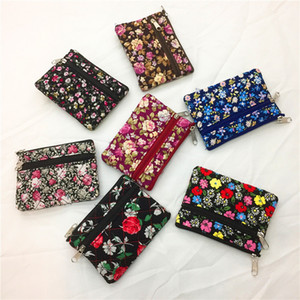 7styles Floral Children Girl Wallet Coins Double Zipper Pouch Women Coin Purse Female Key Card Holder bag party favor gift FFA2754-1
