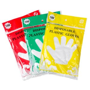 100pcs dozens Disposable Glove Food Grade Plastic One-off Gloves Clear PE Gloves For Kitchen Cleaning Dish Washing protective gloves FFA3907