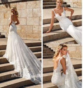 2020 Sexy Спагетти Bohemian Русалка Свадебные платья плюс размер полный шнурок Open Back Beach Страна свадебное платье BC3074