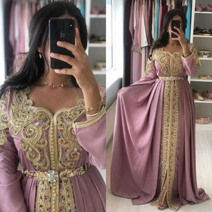 Scoop Neck Long Sleeve Formal Evening Party Dress A Line Satin Embroidery Applique Long Prom Gowns With Sash Beads