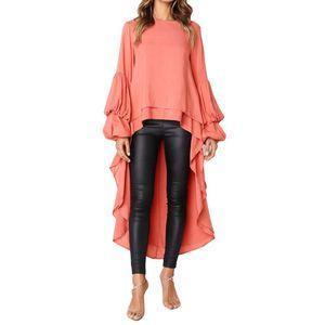 Women's Blouses & Shirts Women Lantern Sleeve High Low Top Neck Blouse Loose Long Asymmetrical Hem Tunic Casual Shirt Lady Clothing