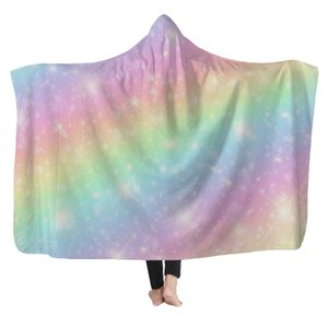 XC USHIO Colorful Rainbow Winter Warm Soft Plush Wearable Hoodie Blanket Adultos Manta con capucha Niños Fleece Throw Blanket