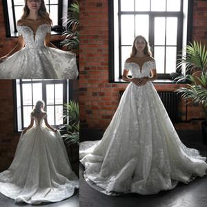 Sparkly Glitter Luxuriöse Spitze Brautkleider 2020 Schloss-Weinlese Brautkleider Pailletten Sweep Zug vestido de novia