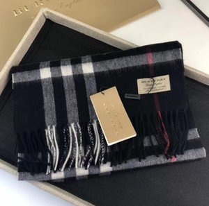 Con Roll Tube Box Gift Winter Luxury 100% Cashmere Scarf Hombres y mujeres Diseñador Classic Big Plaid Scarves Pashmina Infinity Scarfs 5562