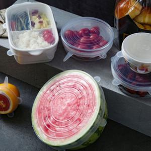 6 pièces / set extensible en silicone réutilisable Couvercles Airtight alimentaire Couvertures Wrap Garder Seal frais bol Wrap Couverture Stretchy Batterie de cuisine