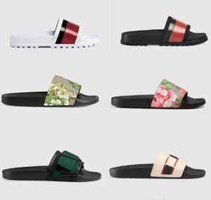 Luxe Hommes Femmes Sandales Designer Chaussures Chaussons Perle imprimé serpent luxe Diapo été large Sandales plates Slipper avec la boîte sac à poussière 35-46