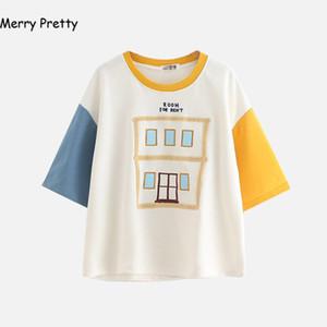 Merry Pretty Summer Tshirt Moda Donna Harajuku Mezza Manica Patchwork Ricamo Cotone T Shirt Top Carino Tee Camisetas Mujer Y19042702