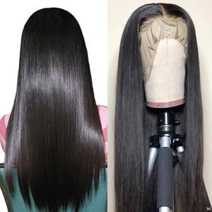 Прозрачное кружево короткие кружевные фронт человеческие волосы парики боб парик для черных женщин натуральные длинные прямые 13x4 швейцарский кружевной фронтальный парик 150%
