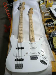 Personalizado Atacado Top Quality Branca bordo Escala 4/6 Cordas Double Neck Electric Guitar Sólido, Serviço de Apoio Personalizado