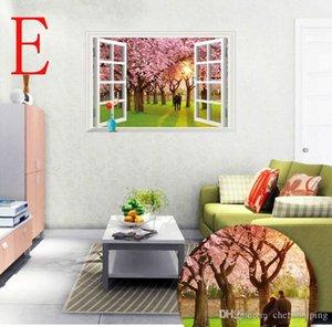 Flores de sakura Sea of Love lavanda 3D papel de parede janela parede removível Cherry Blossom parede decoração adesivos 60 * 90 centímetros frete grátis