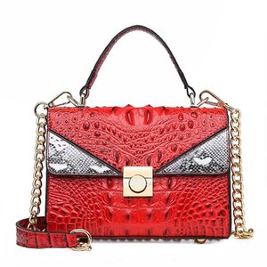 Luxury Handbag Python Tote Bags Women Small Designer Lock Crocodile Pattern Leather Shoulder Messenger Bags Chain Bolsa Red