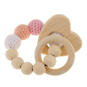 1 pc pearl Other Toys teething rings wooden infant rattle toy baby teething accessories - multicolored - heart