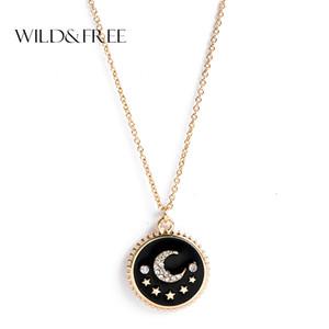 Wildfree kadınlar kristal yuvarlak kolye kolye takı altın renk zincir kolye ay yıldız ile moda choker pendiants