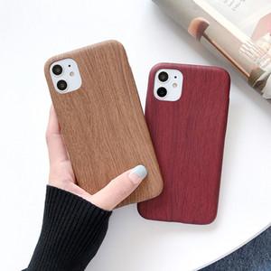 Caso ultra delgado teléfono del modelo de madera suave de TPU para el iPhone 11 Pro Max retro Volver vendimia para el iphone XR XS 8 7 Plus
