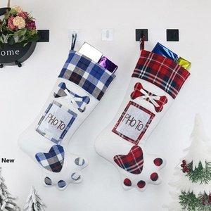 Dog Paw Christmas Stocking Cute Christmas Tree Ornament Socks Xmas Stocking Candy Gift Bag Fashion Home Party Decorative TTA1618