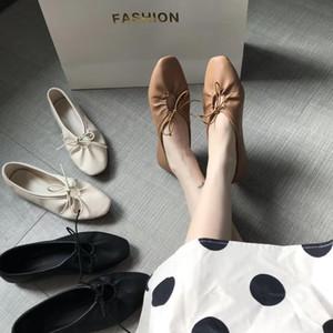 Douce ballerine ballet Bas chaussures femme microfibre appartements bowtied mocassins lacées filles confortables bout carré simples chaussures mujer2020