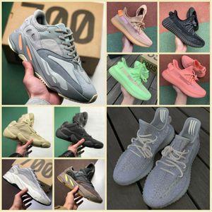 Zapatillas deportivas originales de arcilla estática 700 V2 2019 Kanye West 700s Wave Runner Malva Hombres Mujeres 3M Inercia reflectante Zapatillas de deporte de forma verdadera