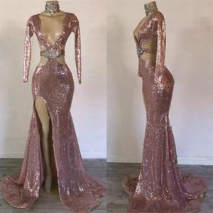 Hot Long Sleeve Mermaid Prom Ocasião Vestidos 2020 Sparkly frisada de cristal Backless V-neck Brown Evening Africano Pageant Vestido