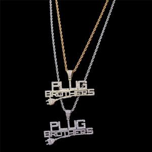 Lettres Pendentif Collier Hommes Plaqué Or Hip Hop Bijoux Plug Frères Charm Collier Hiphop Avec Zircon Cubique