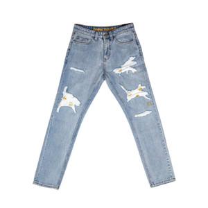 Mayo nuevo listado de la vendimia Bleach vaqueros lavados Hombres Mujeres Hombres Pantalones destruida