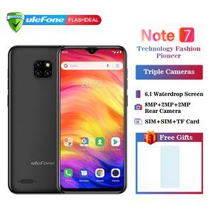 Ulefone nota 7 android 8.1 telefone móvel 6.1 '' waterdrop triplo câmera 1gb 16 gb mt6580a quad core dual sim face id smartphones