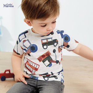 Küçük maven yaz yeni karikatür çocuk kısa kollu çocuk tişört örme pamuk çocuk tişört