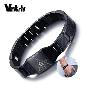 Vinterly Noir Magnétique Bracelet Hommes En Acier Inoxydable Main Chaîne Maçonnique Punk Id Bracelets Aimant En Fiber De Carbone Santé Bracelets C19030201
