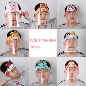 DHL shipping Kid Cartoon Face Shield Mask Anti-fog Full Protective Masks Transparent PET Protection Splash Head Cover Children Gifts L209FA