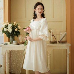 Wasteheart Frauen Homewear Weiblich White Sexy Nachtwäsche Nachtkleid Cotton Lace Nachtwäsche Nachthemd Homewear süßes Luxus-Kleid